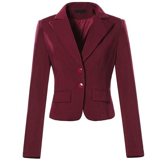 Millenniums Femme Blazer Double Bouton Couleur Unie Slim