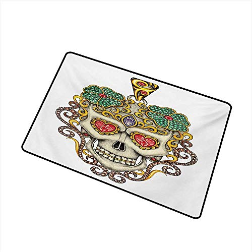 Becky W Carr Day of The Dead Inlet Outdoor Door mat Sugar Skull with Heart Pendants Floral Colorful Design Print Catch dust Snow and mud W19.7 x L31.5 Inch,White Ivory and -