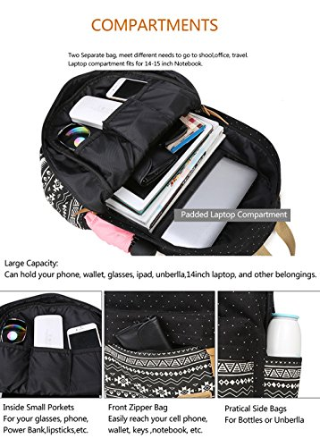 Gazigo Geometry Girls Canvas College Laptop Backpack + Lunch Bag 9628a480d86e7