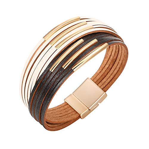 Fesciory Women Multi-Layer Leather Wrap Bracelet Handmade Wristband Braided Rope Cuff Bangle with Magnetic Buckle Jewelry(Short White Black) ()