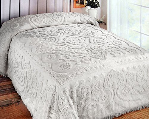 Big Save! 100-Percent Soft Cotton Chenille Bedspread, Center Design, King, White