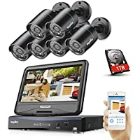 SANNCE 8CH 1080N Smart Home Security System with 1TB Hard Drive and 6 1280TVL Bullet CCTV Surveillance Camera, 66ft Night Vision, Email Alarm, Not Wireless System