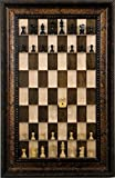 Simple Staunton chess pieces on vertical wall mounted Maple Nut Series Straight Up Chess board with the Black Gold Frame