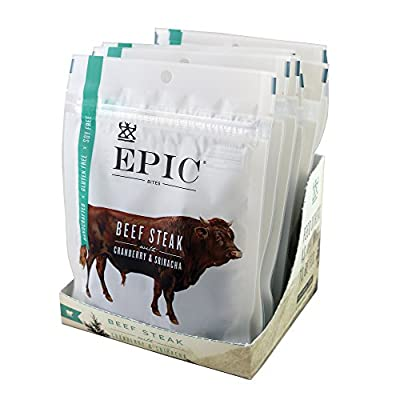 Epic Jerky Bites, 100% Grass Fed, Beef, Cranberry & Sriracha, 2.5 ounce, 8 Count
