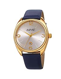 August Steiner Men's Quartz Stainless Steel and Leather Casual Watch, Color:Blue (Model: AS8231YGBU)
