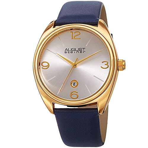 August-Steiner-Mens-Quartz-Stainless-Steel-and-Leather-Casual-Watch-ColorBlue-Model-AS8231YGBU