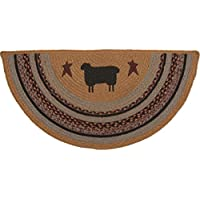 VHC Brands Primitive Flooring-Heritage Farms Tan Half Circle Jute Rug, 14.5 x 29, Sheep