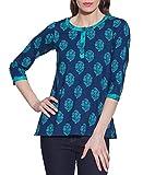 Cotton-Printed-Kurti-Women-Apparels-Blue-Tops