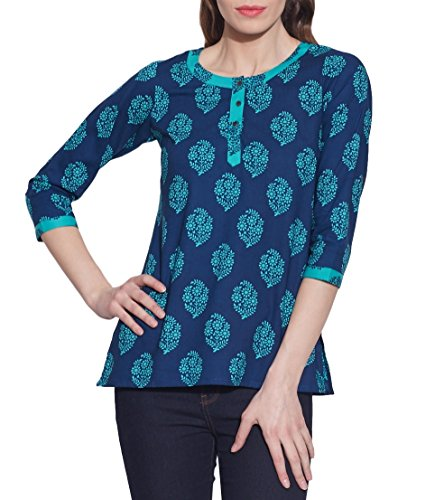 Cotton-Printed-Kurti-Women-Apparels-Blue-Tops