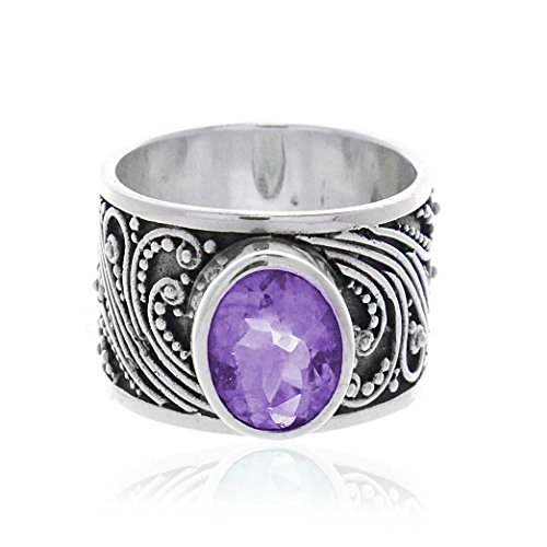 Milo Jewelry by Artune Amethyst Center Balinese Scroll Beadwork Sterling Silver Cigar Band Ring