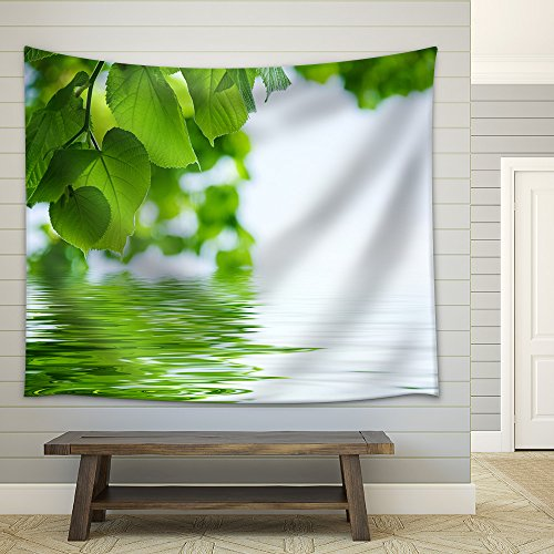 Nature Background Lime and Water Relflexion Fabric Wall Tapestry