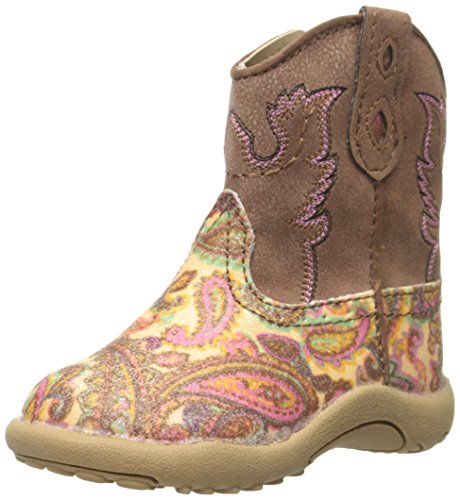 Cowgirl Baby Boots (Roper Glitter Square Toe Cowgirl Boot (Infant/Toddler/Little Kid/Big Kid), Brown Glitter Paisley, 4 M US Toddler)