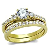 0.6 Carat Round Cut CZ Women's Gold IP Stainless Steel Engagement Ring Set- Size 7