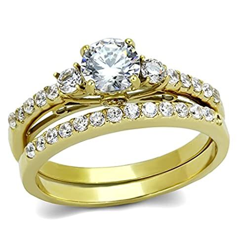 0.6 Carat Round Cut CZ Women's Gold IP Stainless Steel Engagement Ring Set- Size 6 (Cubic Zirconia Gold Rings)