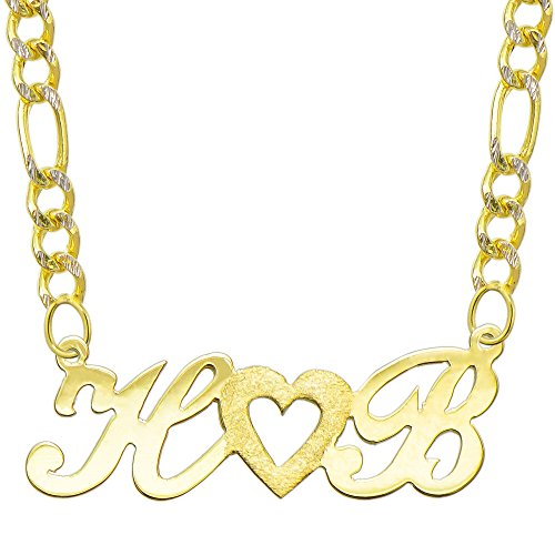 14K Yellow Gold Personalized Name Plate Necklace - Style 3 (20 Inches, White Pave Figaro Chain) 14k Yellow White Gold Nameplates