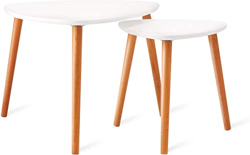 YSKWA Nesting Coffee Tables Set of 2 Modern Furniture Decor Side End Table for Living Room, Office, Balcony, Easy Assembly, Triangle, White Rubber Wood Legs