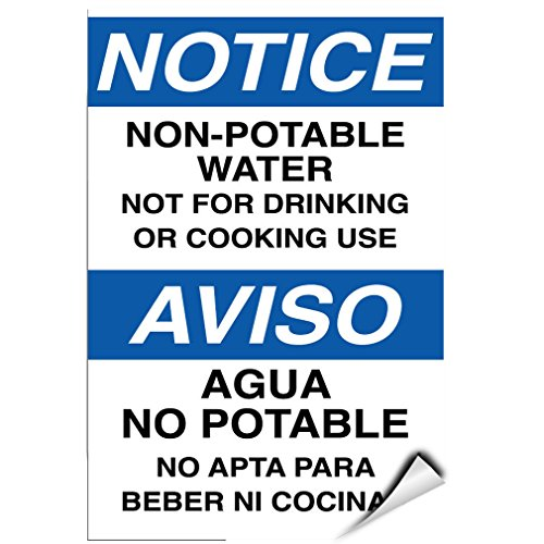 Notice Non Potable Water Not Suitable For Drinking & Cooking LABEL DECAL STICKER Sticks to Any Surface