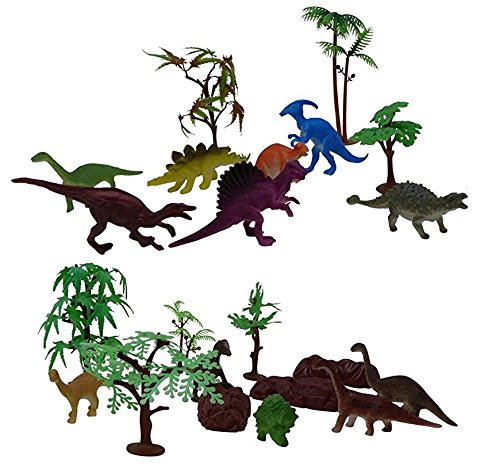 Dinosaurs Playset with Trees - Jurassic Park Scene | Great Miniature Playset For Kids Collection, Party Favors Baby Dinosaur Miniature