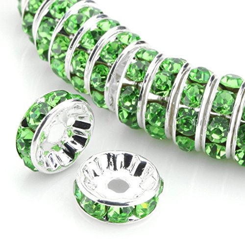 (50pcs 5mm AAA Silver Plated Copper Brass Rondelle Spacer Round Loose Beads Peridot Green Green Austrian Crystal Rhinestone for Jewelry Crafting Making CF3-516)