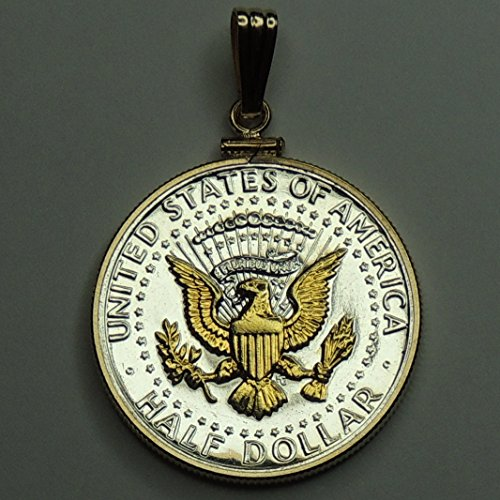 Kennedy  half dollar (Eagle), Gorgeously 2-Toned (Uniquely Hand done) Gold on Silver coin Pendants - Charms Necklaces for women men boys girls girlfriend jewelry making