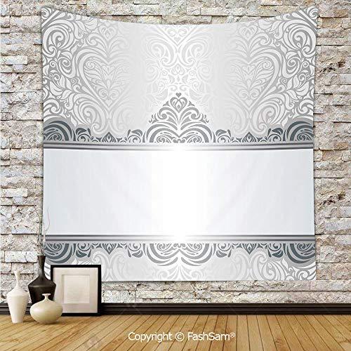 Tapestry Wall Hanging Vintage Rich Royal Flower Motifs Forms Heart Shapes Bridal Damask Design Tapestries Dorm Living Room Bedroom(W59xL90)