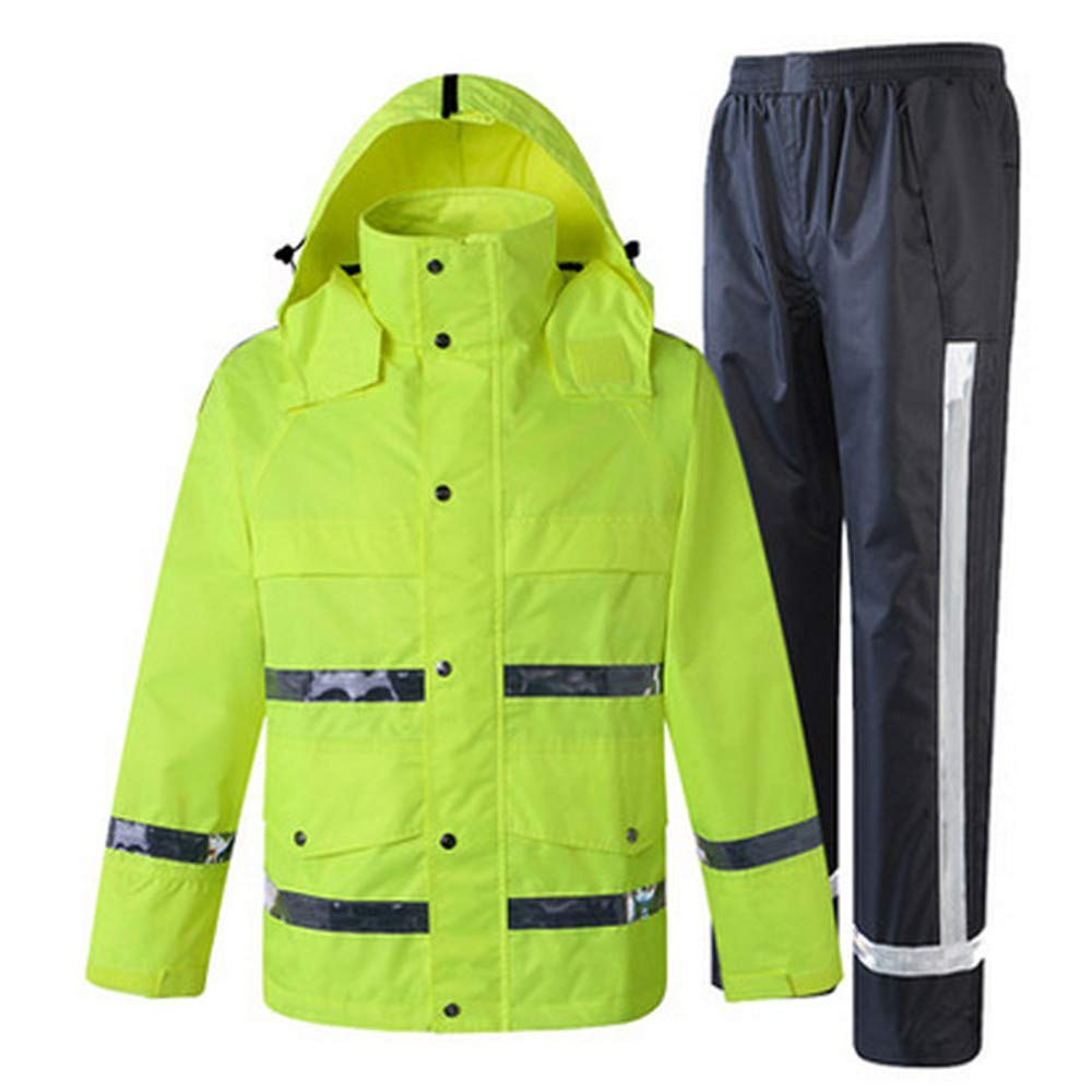 GSHWJS- trash can Waterproof Rain Jacket and Pants, Reflective Safety Raincoat Hooded Poncho Set, Green Reflective Vests (Size : XXL) by GSHWJS- trash can (Image #8)