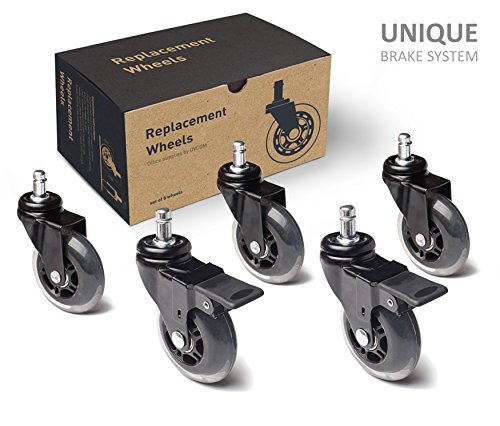 Office Chair Caster Wheels - Locking Casters Replacement - Black Rubber Wheels - Safe For All Floors Including Hardwood Without Plastic Mat - Rollerblade Wheels 3inch - Set of 5