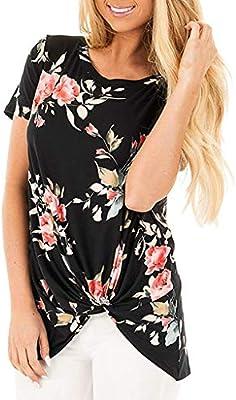 SMILEQ Camiseta de Mujer Chaleco con Estampado Floral Informal Cuello en O Blusa Camisa Nudo Tops de Manga Corta (S, Negra): Amazon.es: Deportes y aire libre