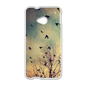 Diy Flying Birds Phone Case for HTC One M7 White Shell Phone JFLIFE(TM) [Pattern-1]