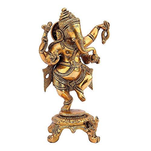 Kartique Dancing Ganesha Statue Bhagwan Ganpati in Fine Brass Idol Murti for Home Entrance Mandir Office Décor Good Luck…