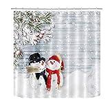 Snowman Shower Curtain LB Modern Couple Snowman Shower Curtain,Hug A Letitsnow Placard in Snow Scene on Grey Wood Board Cool Bathroom Decor Waterproof Fabric 72x72 Inches