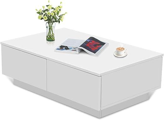 Hochglanz Couchtisch mit 1 Schubladen Sofatisch Kaffetisch Designertisch weiß