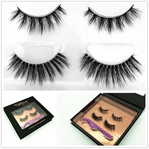 2 Pairs Collection of Faux Mink False Eyelash with Luxury Case Fake Lashes 100% Brand New Fashion Stylish Manmade 3D Style Full and Natural Eye Lash 1 Package Box Reusable Cruelty Free