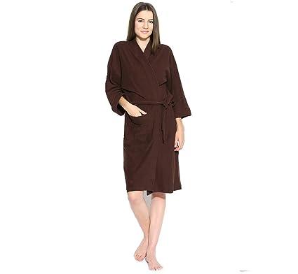 FEELBLUE Terrycloth Bathrobe for Women (Brown, Full Size)