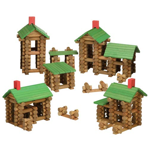 Tumble Tree Timbers Wood Building Set - 450 Pieces. Build Log Cabins. Educational STEM Toy