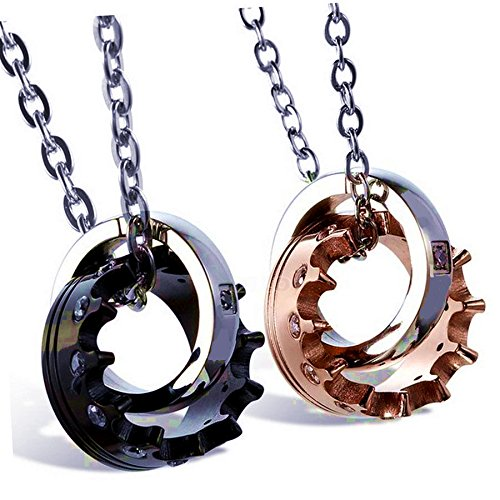 Stainless Steel Crown His & Hers Couple Royal Interlocking Ring Pendant Love Necklace Romantic Lovers Valentine Set, 20
