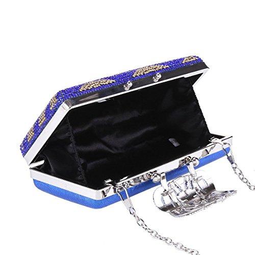 Damara Bolso Bandolera Con Cristal Flexuoso Caja Dura Cartera De Mano Mujer,Azul Plateado