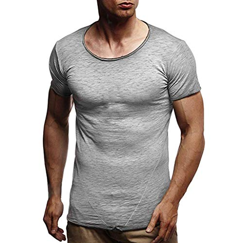 Sunmoot Cotton T-Shirt for Mens Slim Fit Summer Casual Short Sleeve O-Neck Muscle Blouse Tops Gray ()