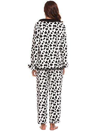 Ekouaer Thermal Pajamas Patterned Fleece Set Cows Plush Lace Women's Pajama White 5grYqwEgx