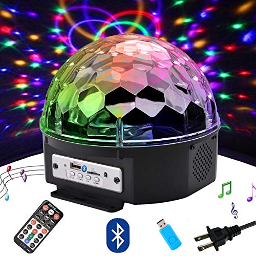 Outgeek DJ Lights, 9 Color LED Bluetooth Stage Lights DJ Stage Lighting Rotating Crystal Magic Ball Light Sound Activated Light with Remote Control MP3 Play and USB for Disco Xmas KTV Club Pub Show -