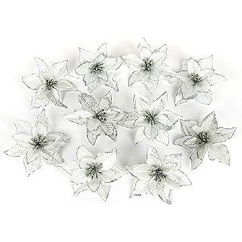 ADSRO 10Pcs Glitter Hollow Wedding Party Decor Christmas Artificial Fabric  Simulation Flower Xmas Tree Decorations ( 9d4f18e66521