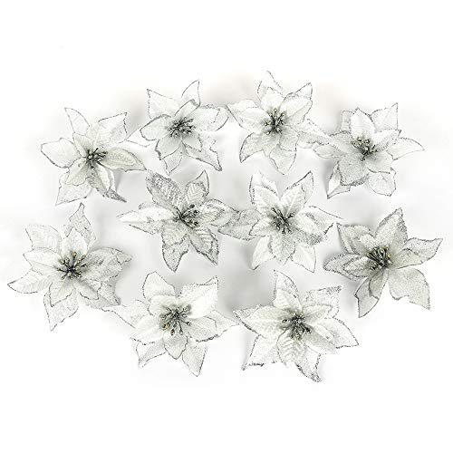 (MeiBoAll Christmas Decorations Flowers Simulation Flower Wedding Party Decor Christmas Artificial Fabric Flowers White 10 Pcs)