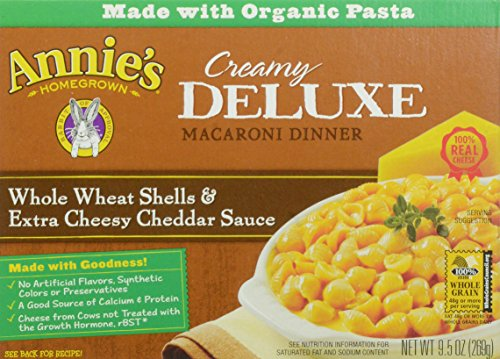 Annie's Macaroni and Cheese, Creamy Deluxe Whole Wheat Shells & Extra Cheesy Cheddar Sauce Mac & Cheese, 9.5 oz Box by Annie's Homegrown