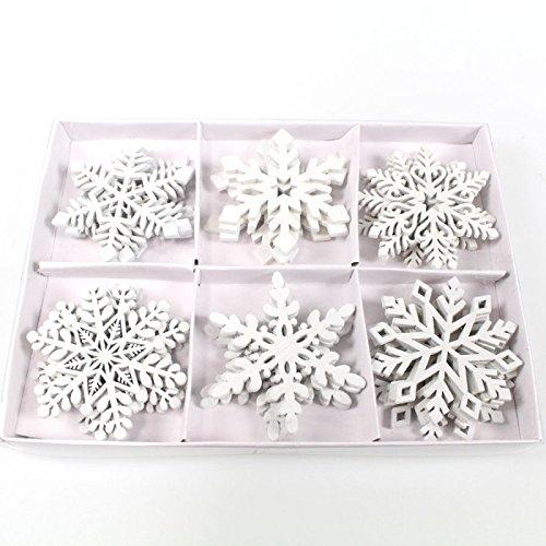 Floral-Direkt 24 Schneeflocken Streudeko weiß 6-Fach Sortiert 5,5 cm Holz
