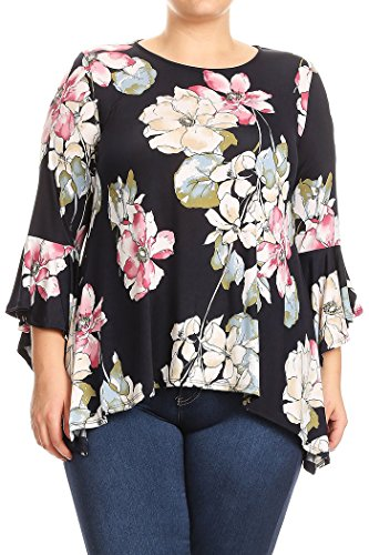 Fashion Stream Women's Plus Size Print With Kimono Sleeve Tunic Blouse Shirt Top Made In USA (3XL, D.Navy-Floral)