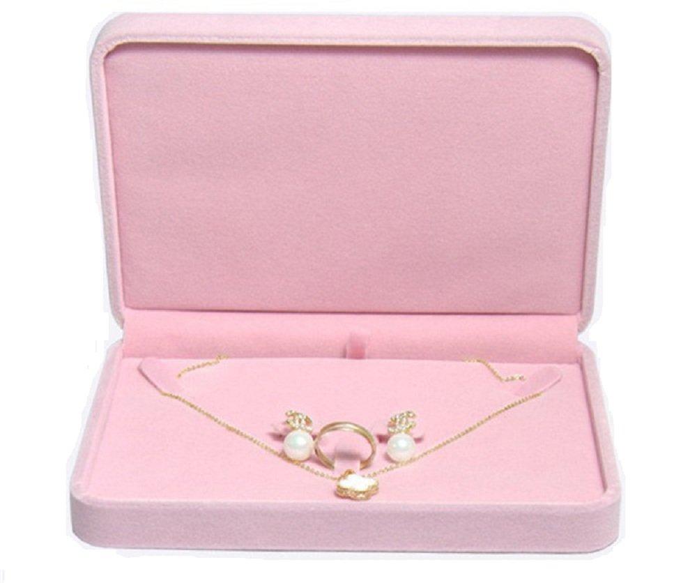 TIKIYOGI Wedding Jewelry Sets Velvet Box Necklace Earring Ring Display Case Storage Holder (Pink) by TIKIYOGI (Image #1)
