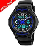 Viliysun Kid Watch Multi Function Digital LED Sport 50M Waterproof Electronic Analog Quartz Watches for Boy Girl Children Gift Blue