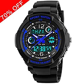 Viliysun Kid Watch Multi Function Digital LED Sport 50M Waterproof Electronic Analog Quartz Watches for Boy Girl Children Gift Blue