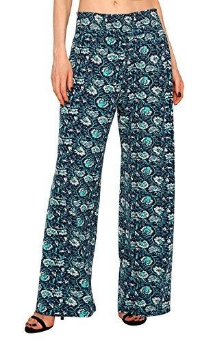 Urban CoCo Women's Boho Palazzo Pants Wide Leg Lounge Pants (M, 3) -