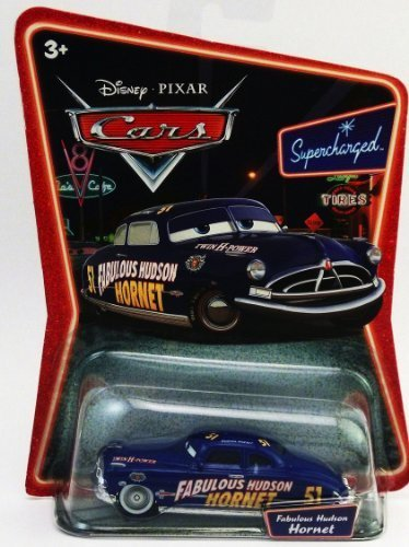 Disney / Pixar CARS Movie 155 Die Cast Car Series 2 Supercharged Fabulous Hudson Hornet with SILVER Hub Caps by Mattel Toys (Hudson Hornet Supercharged)